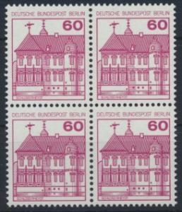 Berlin Burgen und Schlösser 611 A 60 Pfg. Karmin Viererblock Luxus postfrisch