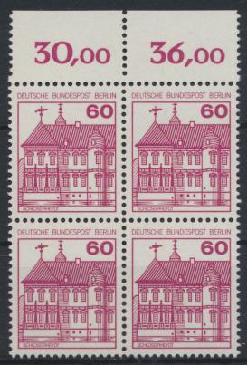 Berlin Burgen & Schlösser 611A  Karmin Oberrand Viererblock Luxus postfrisch 0