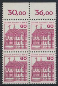 Berlin Burgen & Schlösser 611A  Karmin Oberrand Viererblock Luxus postfrisch