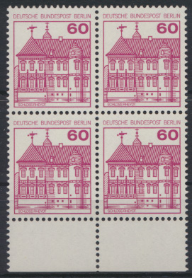 Berlin Burgen & Schlösser 611A  Karmin Unterrand Viererblock Luxus postfrisch 0