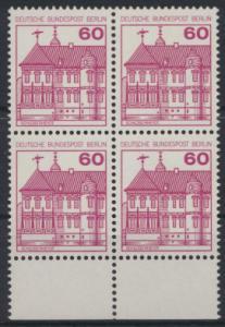 Berlin Burgen & Schlösser 611A  Karmin Unterrand Viererblock Luxus postfrisch