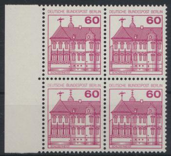 Berlin Burgen & Schlösser 611A  Karmin Rand Viererblock links Luxus postfrisch 0