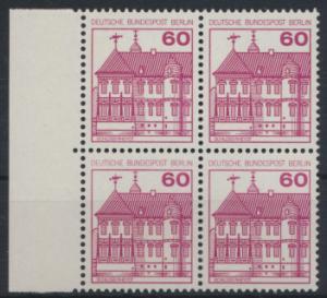 Berlin Burgen & Schlösser 611A  Karmin Rand Viererblock links Luxus postfrisch