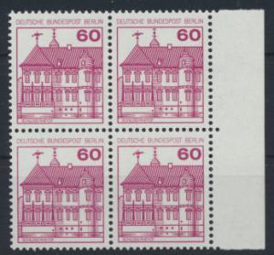 Berlin Burgen & Schlösser 611A  Karmin Rand Viererblock rechts Luxus postfrisch