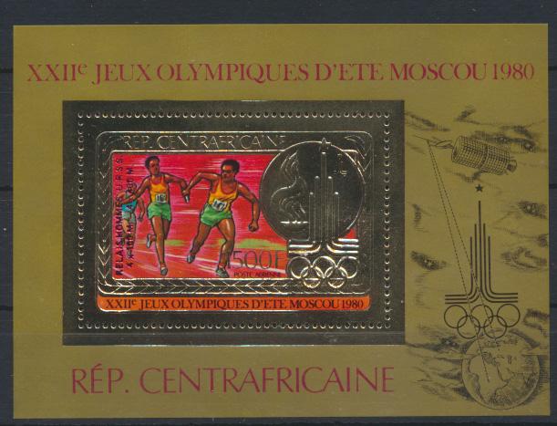 Zentralafrika Block 122 B Olympia Flugpost roter Aufdruck postfrisch Kat.110,00 0