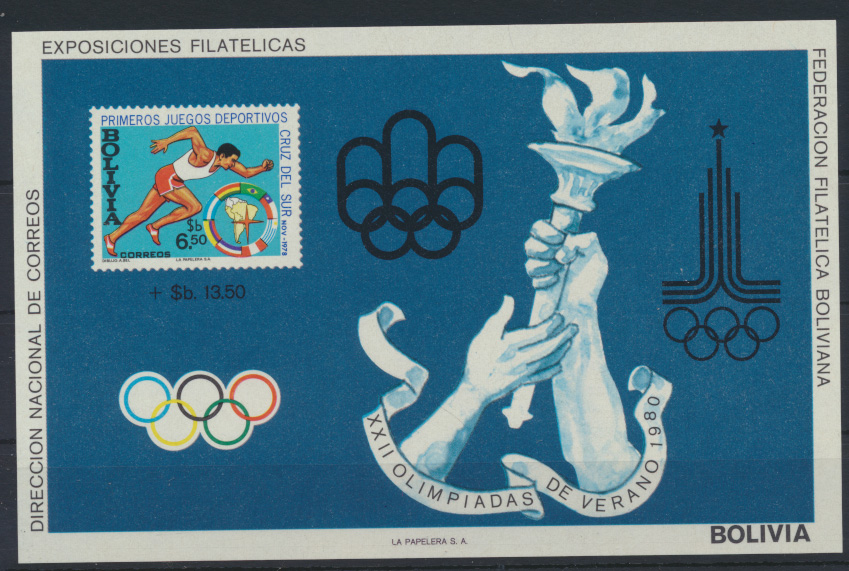 Bolivien Flugpost Block 87 Olympia Sport Moskau Bolivia Olympics Sports Moscow  0