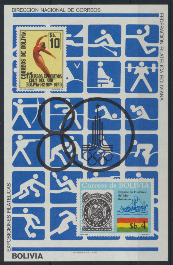 Bolivien Flugpost Block 100 Olympia Sport Bolivia Olympics Sports Moscow 80,00 0