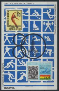 Bolivien Flugpost Block 100 Olympia Sport Bolivia Olympics Sports Moscow 80,00