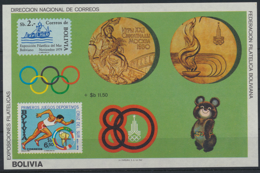 Bolivien Flugpost Block 101 Olympia Sport Bolivia Olympics Sports Moscow 80,00 0