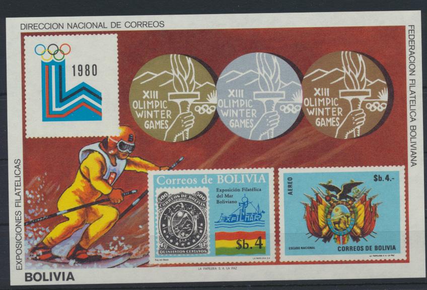 Bolivien Flugpost Block 102 Olympia Sport Bolivia Olympics Sports Lake Placid 0