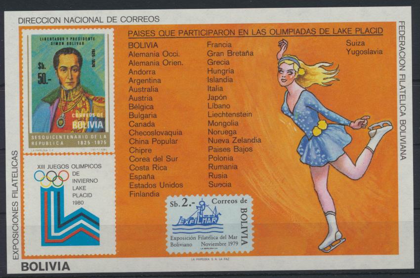 Bolivien Flugpost Block 103 Olympia Sport Bolivia Olympics Sports Lake Placid 0