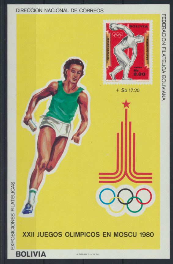 Bolivien Flugpost Block 93 Olympia Sport Moskau Bolivia Olympics Sports Moscow 0