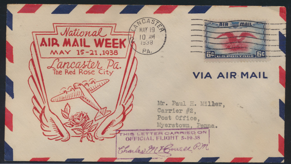 Flugpost USA air-mail letter to Myerstown Pennsylvania 0