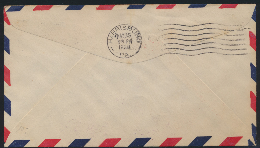 Flugpost USA air-mail letter to Myerstown Pennsylvania 1