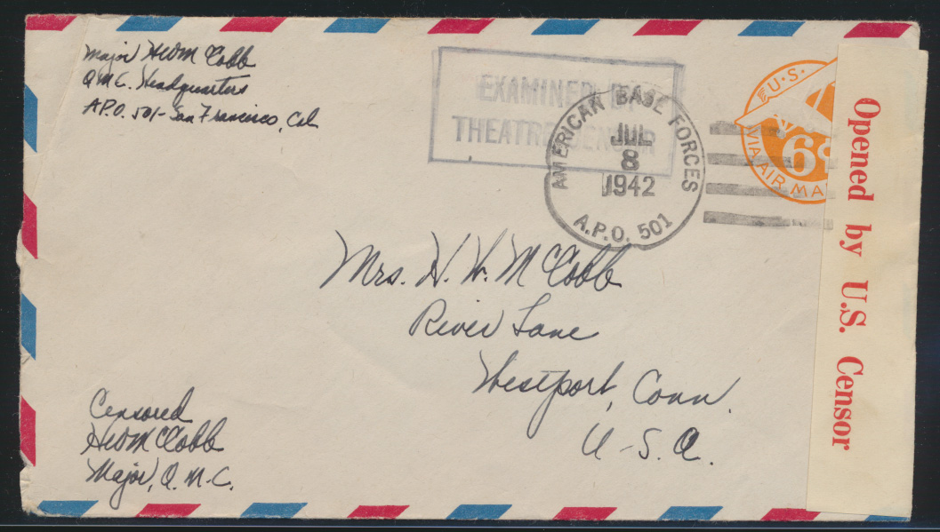 Flugpost USA Ganzsache Zensur air-mail letter Postal stationery 6d with Censor 0