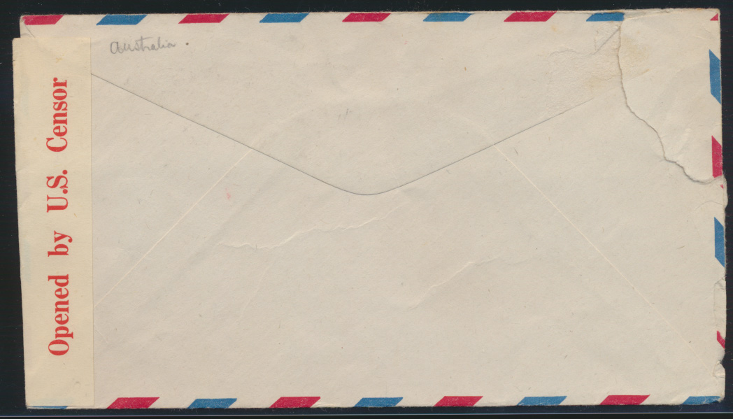 Flugpost USA Ganzsache Zensur air-mail letter Postal stationery 6d with Censor 1