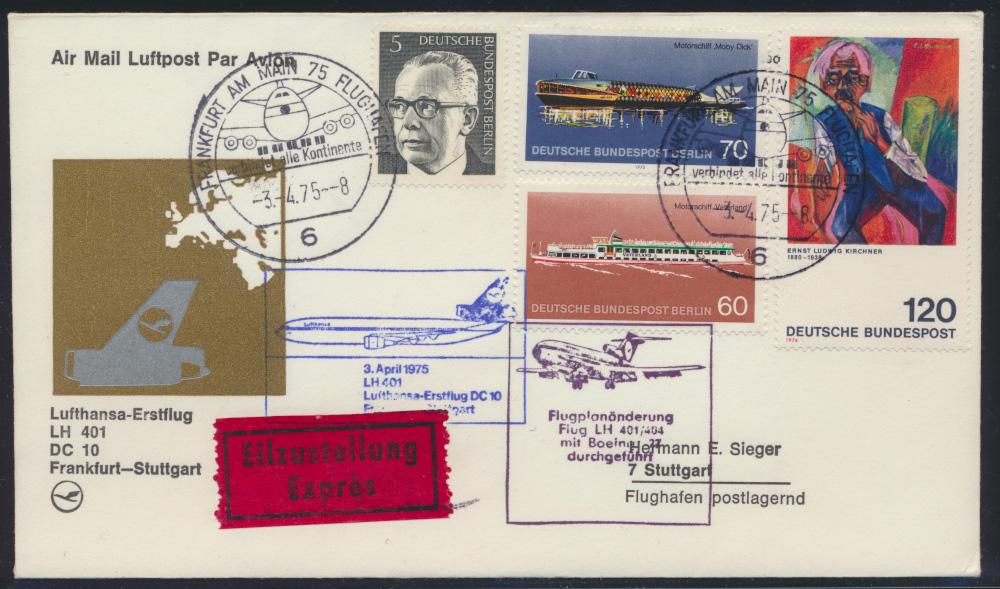 Flugpost Bund Berlin Lufthansa Erstflug Boing LH 401 Eilzustellung air-mail  0