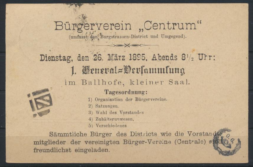 Stadtpost Privatpost Mercur Hannover EF 1 1/2 Pf. auf Karte Bürgerverein Centrum 1