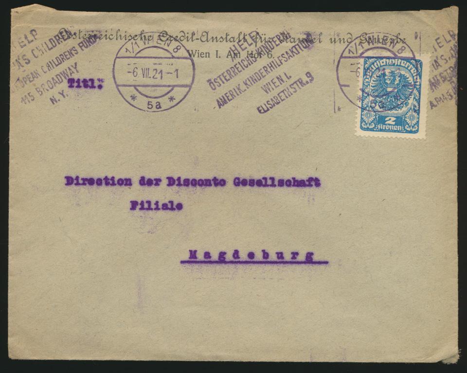 Österreich Brief mit Stempel amerikanische Kinderhilfsaktion Wien n. Magdeburg 0