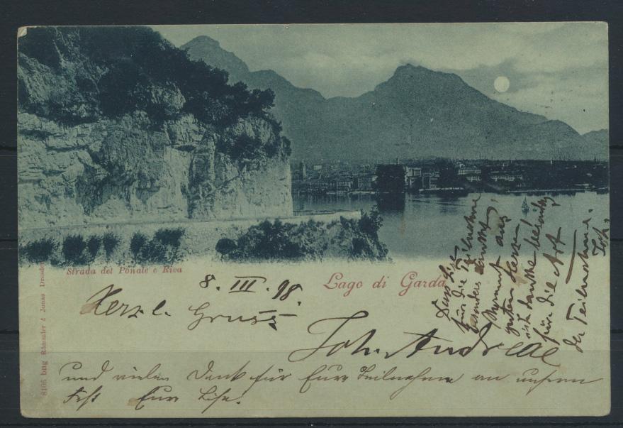 Österreich Italien Mondschein Ansichtskarte Lago di Garda Berlin Charlottenburg 0