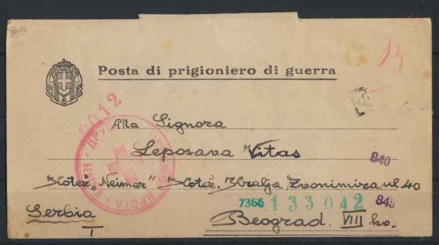 Italien Kriegsgefangenenpost Posta di prigioniero di guerra Belgrad Serbien  0