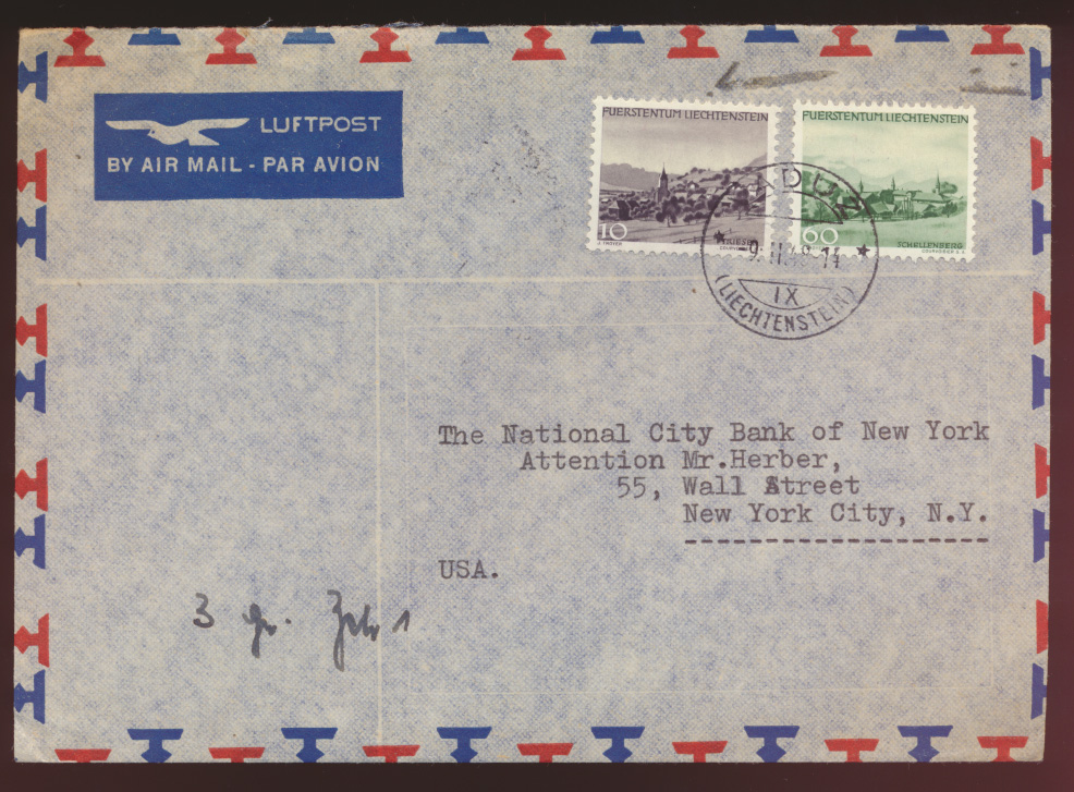 Liechtenstein Luftpost Brief MIF 10 + 60 Pfg. Gemeinden Vaduz nach New York USA 0