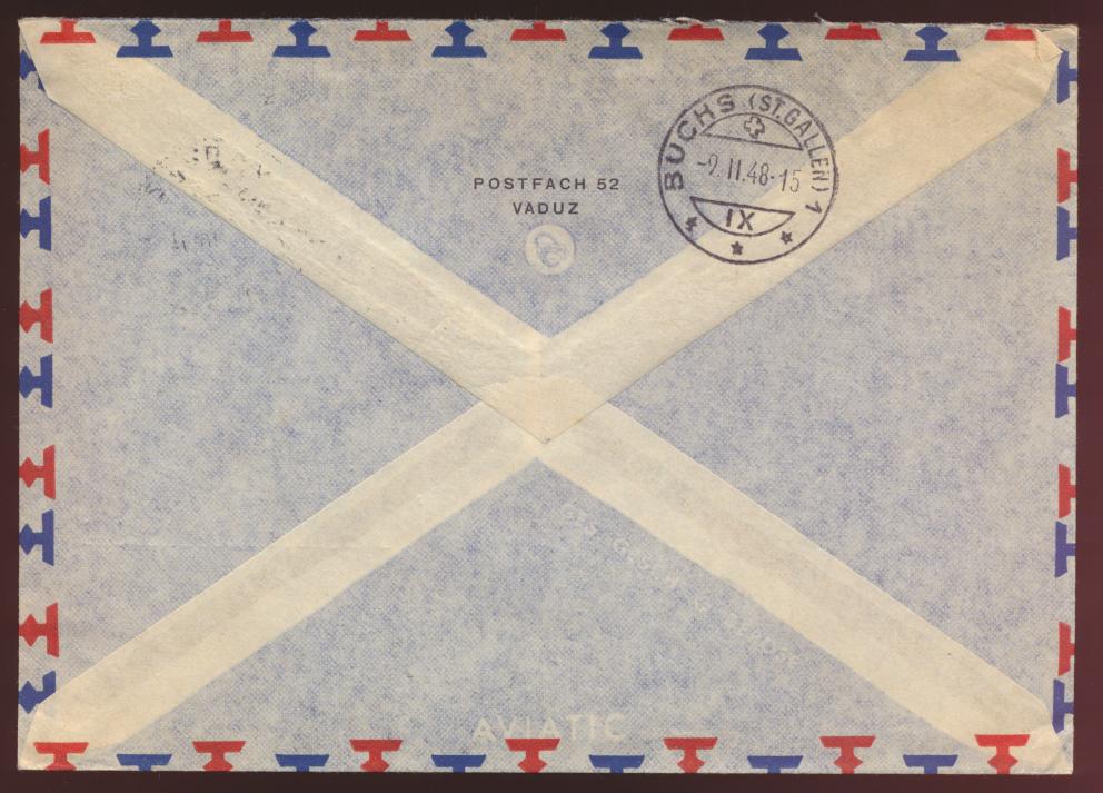 Liechtenstein Luftpost Brief MIF 10 + 60 Pfg. Gemeinden Vaduz nach New York USA 1