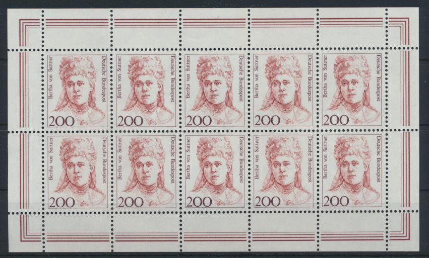 Bund 1498 Kleinbogen Zehnerbogen Frauen 200 Pfg. Luxus postfrisch Kat.Wert 28,00 0
