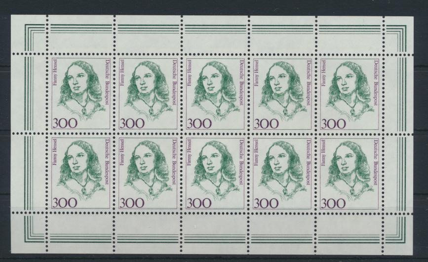 Bund 1433 Kleinbogen Zehnerbogen Frauen 300 Pfg. Luxus postfrisch Kat.Wert 32,00 0