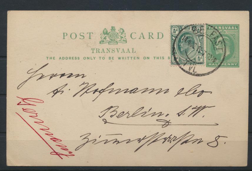 Afrika Transvaal Ganzsache postal stationery + ZuF Belfast TVL eMakhazeni Berlin 0