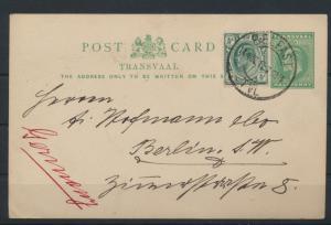 Afrika Transvaal Ganzsache postal stationery + ZuF Belfast TVL eMakhazeni Berlin