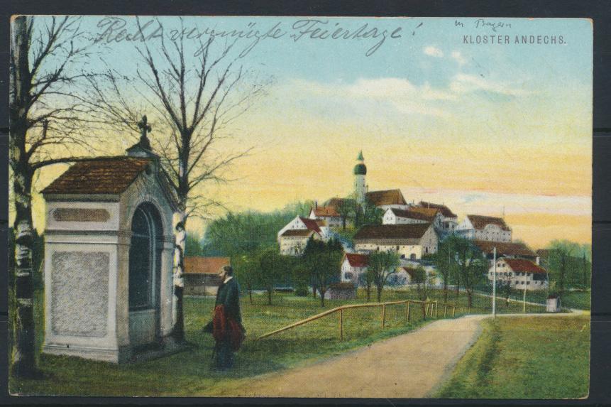 Ansichtskarte Bayern Kloster Andechs ab Erling nach Etterzhausen bei Regensburg 0