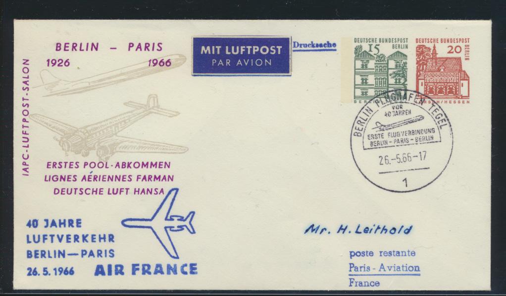 Flugpost Bund Privatganzsache Air France 1. Pool Abkommen Berlin Tegel Paris  0