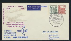 Flugpost Bund Privatganzsache Air France 1. Pool Abkommen Berlin Tegel Paris