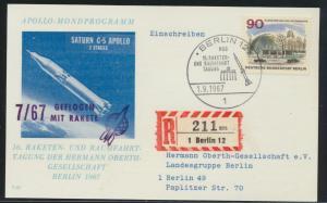 Flugpost Brief Berlin Apollo Mondprogramm Sonderkarte per Einschreiben Berlin