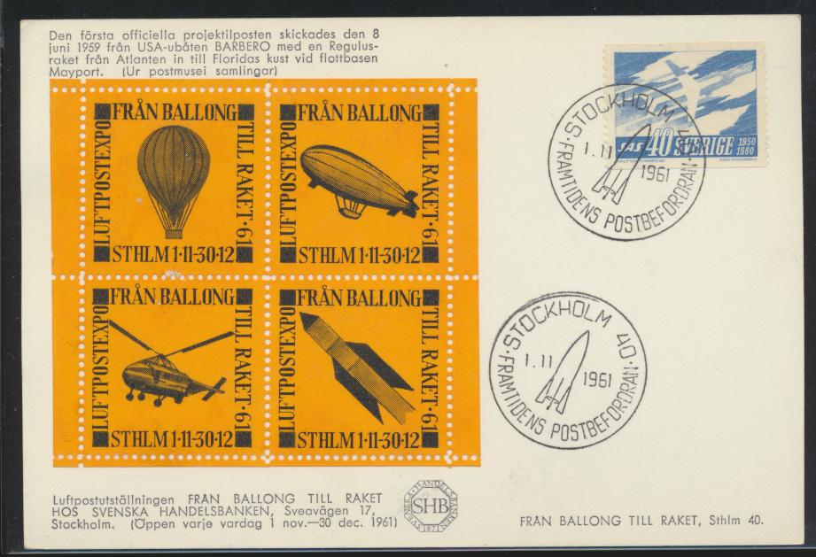 Air mail letter Flugpost Schweden mit Zusammendruck Vignette Zeppelin Ballon  0