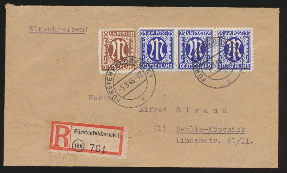 Bizone AM Post R Brief MIF 3er Streifen 25 Pfg. Fürstenfeldbrück Berlin Köpenick 0