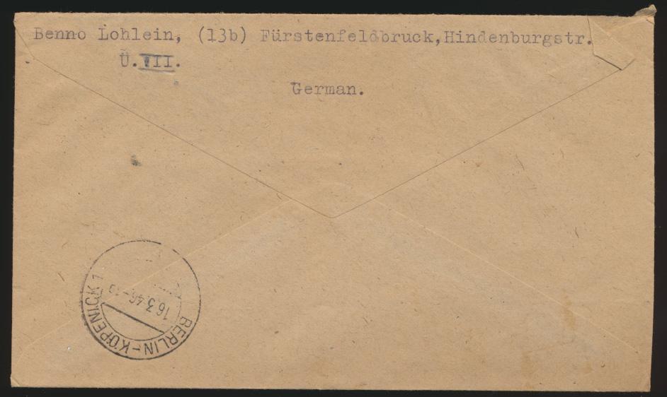 Bizone AM Post R Brief MIF 3er Streifen 25 Pfg. Fürstenfeldbrück Berlin Köpenick 1