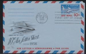 Air mail letter Flugpost USA Ganzsache Aerogramm 10c Saint Louis Ersttag