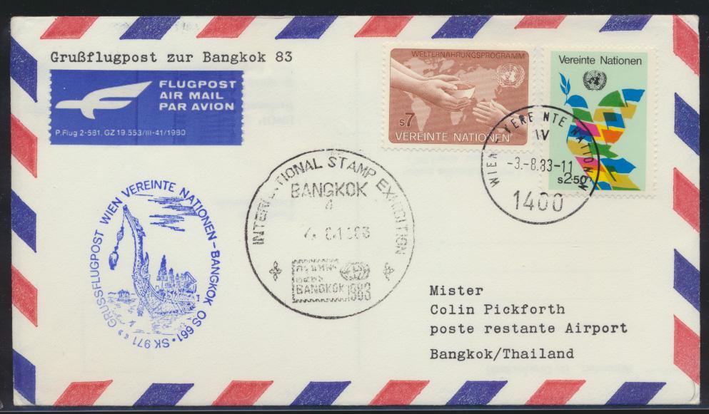 Thailand Air mail Flugpost Brief UNO Wien Stamp Exibition Detination Bangkok 0