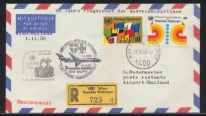 Air mail Flugpost R Brief UNO Wien Italien Mailand 20J. Dienst Austrian Airlines
