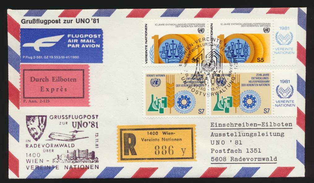 Air mail letter Flugpost Eilboten R Brief UNO Wien Radevormwald 1981 0