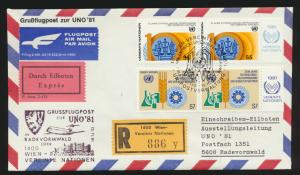 Air mail letter Flugpost Eilboten R Brief UNO Wien Radevormwald 1981