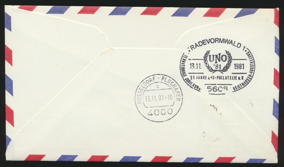 Air mail letter Flugpost Eilboten R Brief UNO Wien Radevormwald 1981 1