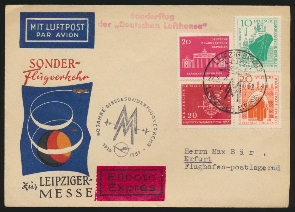 Air mail letter Flugpost DDR Eilboten Brief Leipziger Messe 27.2.59 nach Erfurt 0