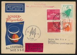 Air mail letter Flugpost DDR Eilboten Brief Leipziger Messe 27.2.59 nach Erfurt