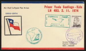 Air mail letter Flugpost Chile Aufdruckmarke 300 auf 50 Santiago  nach Köln