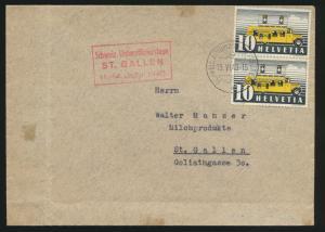 Schweiz Brief MEF Automobil Postbureau + roter R3 Unteroffizierstage St. Gallen