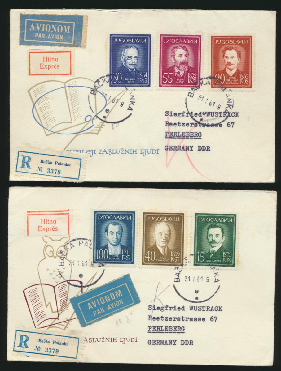 Jugoslawien 2 R Express Briefe Bačka Palanka Serbien n. Perleberg DDR 31.1.1961 0