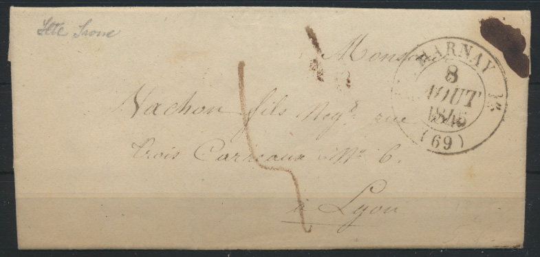 France Frankreich Brief Marnay via Besançon nach Lyon 8.8.1846  0